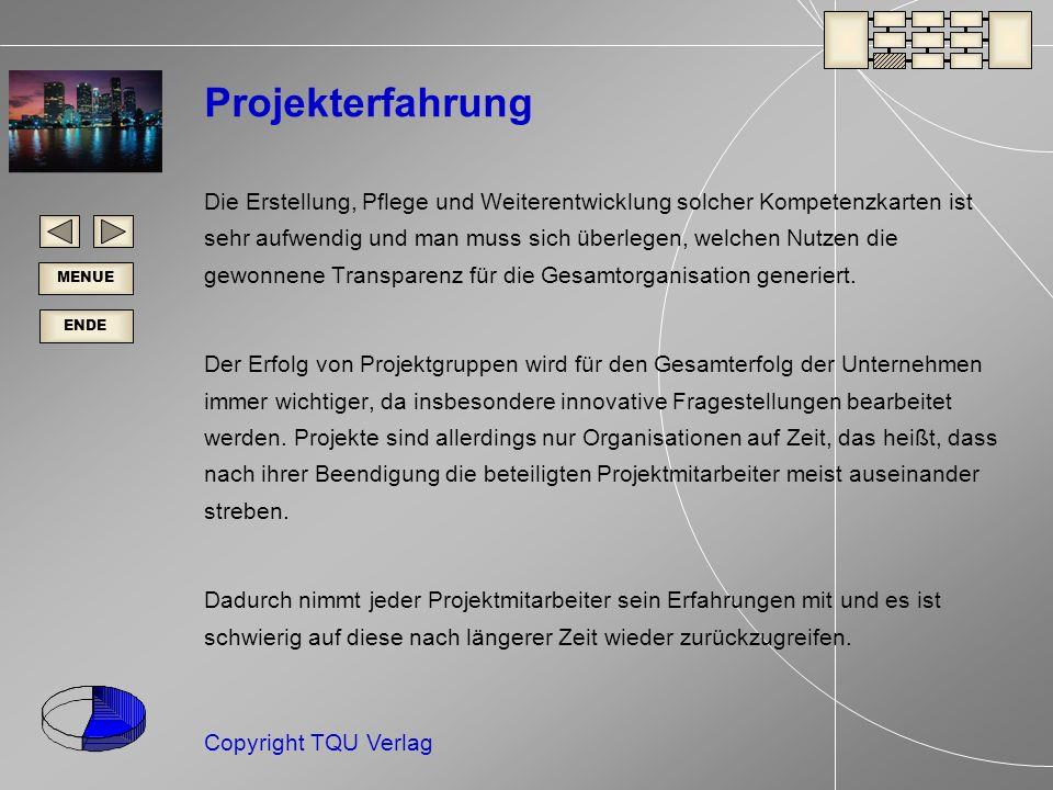 ENDE MENUE Copyright TQU Verlag Projekterfahrung Die Erstellung, Pflege und Weiterentwicklung solcher Kompetenzkarten ist sehr aufwendig und man muss sich überlegen, welchen Nutzen die gewonnene Transparenz für die Gesamtorganisation generiert.