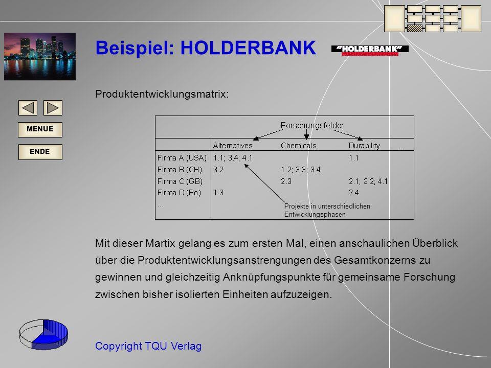 ENDE MENUE Copyright TQU Verlag Beispiel: HOLDERBANK Produktentwicklungsmatrix: Mit dieser Martix gelang es zum ersten Mal, einen anschaulichen Überblick über die Produktentwicklungsanstrengungen des Gesamtkonzerns zu gewinnen und gleichzeitig Anknüpfungspunkte für gemeinsame Forschung zwischen bisher isolierten Einheiten aufzuzeigen.