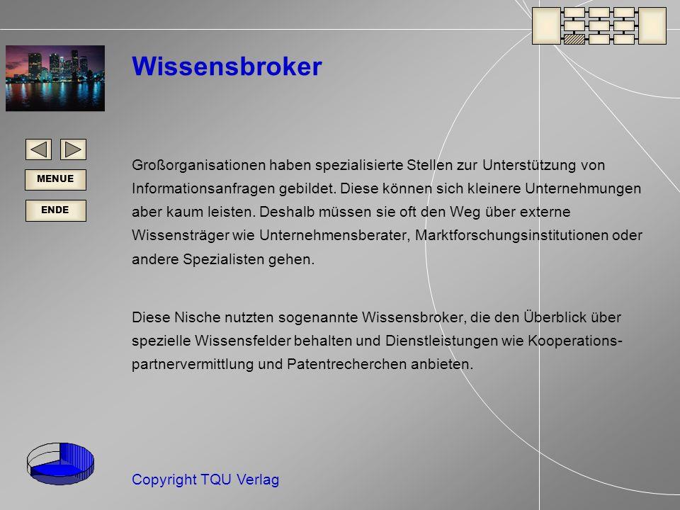 ENDE MENUE Copyright TQU Verlag Wissensbroker Großorganisationen haben spezialisierte Stellen zur Unterstützung von Informationsanfragen gebildet.