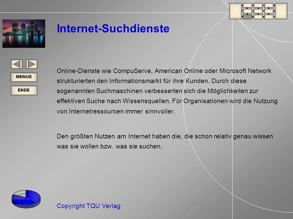ENDE MENUE Copyright TQU Verlag Internet-Suchdienste Online-Dienste wie CompuServe, American Online oder Microsoft Network strukturierten den Informationsmarkt für ihre Kunden.