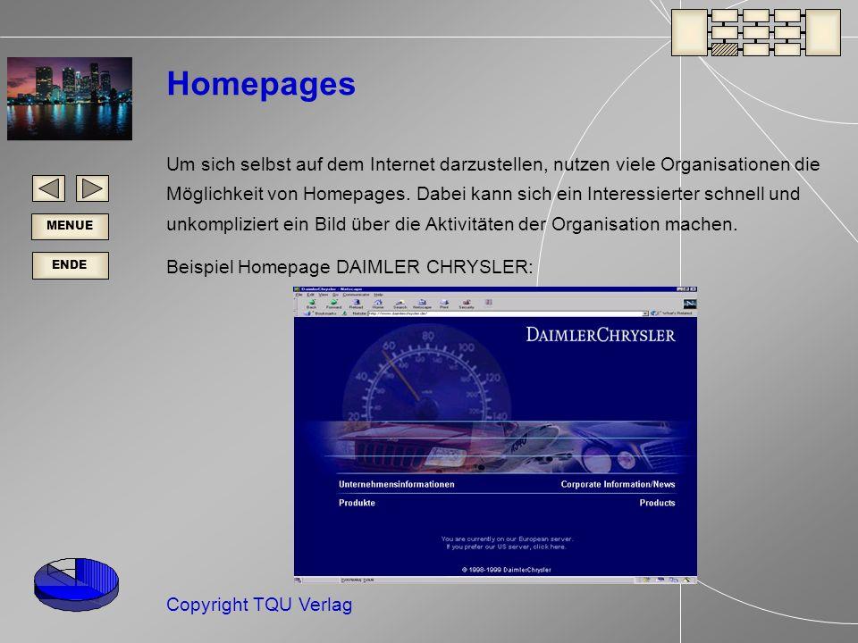 ENDE MENUE Copyright TQU Verlag Homepages Um sich selbst auf dem Internet darzustellen, nutzen viele Organisationen die Möglichkeit von Homepages.