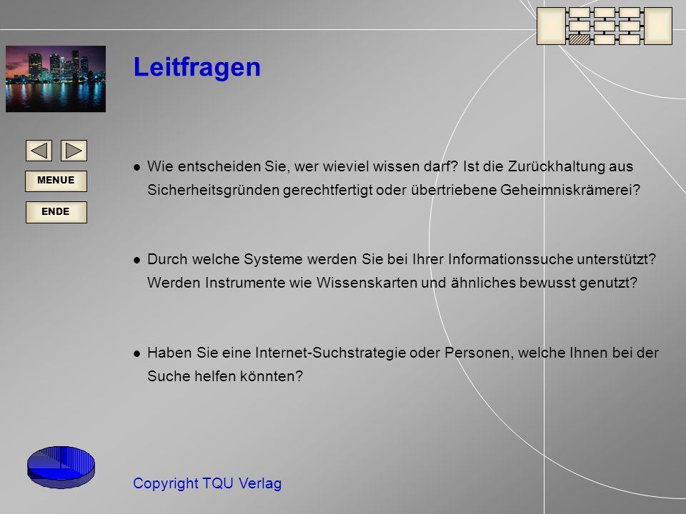 ENDE MENUE Copyright TQU Verlag Leitfragen Wie entscheiden Sie, wer wieviel wissen darf.