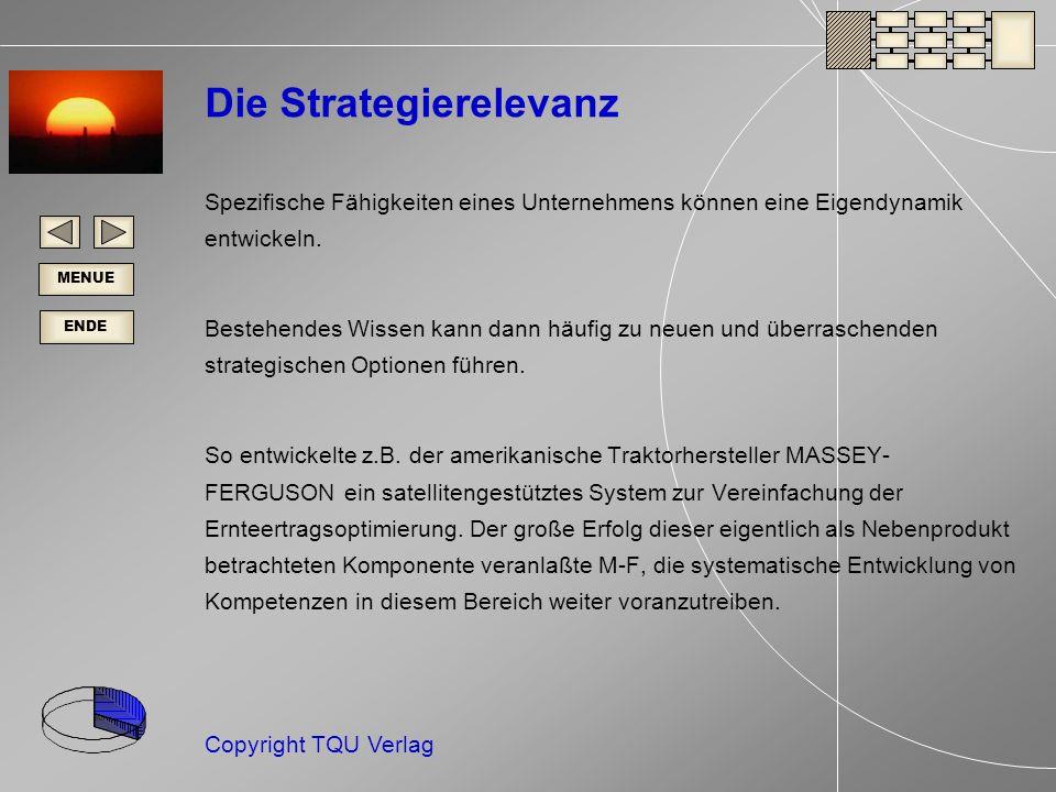 ENDE MENUE Copyright TQU Verlag Die Strategierelevanz Spezifische Fähigkeiten eines Unternehmens können eine Eigendynamik entwickeln.