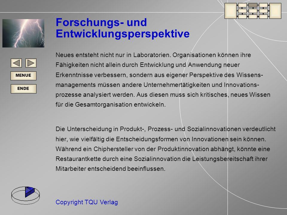 ENDE MENUE Copyright TQU Verlag Forschungs- und Entwicklungsperspektive Neues entsteht nicht nur in Laboratorien.