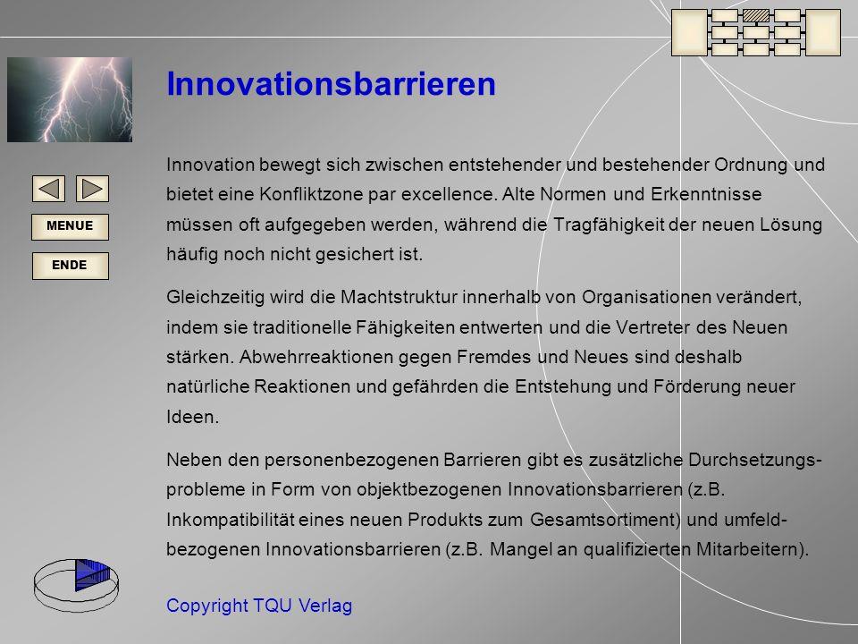 ENDE MENUE Copyright TQU Verlag Innovationsbarrieren Innovation bewegt sich zwischen entstehender und bestehender Ordnung und bietet eine Konfliktzone par excellence.