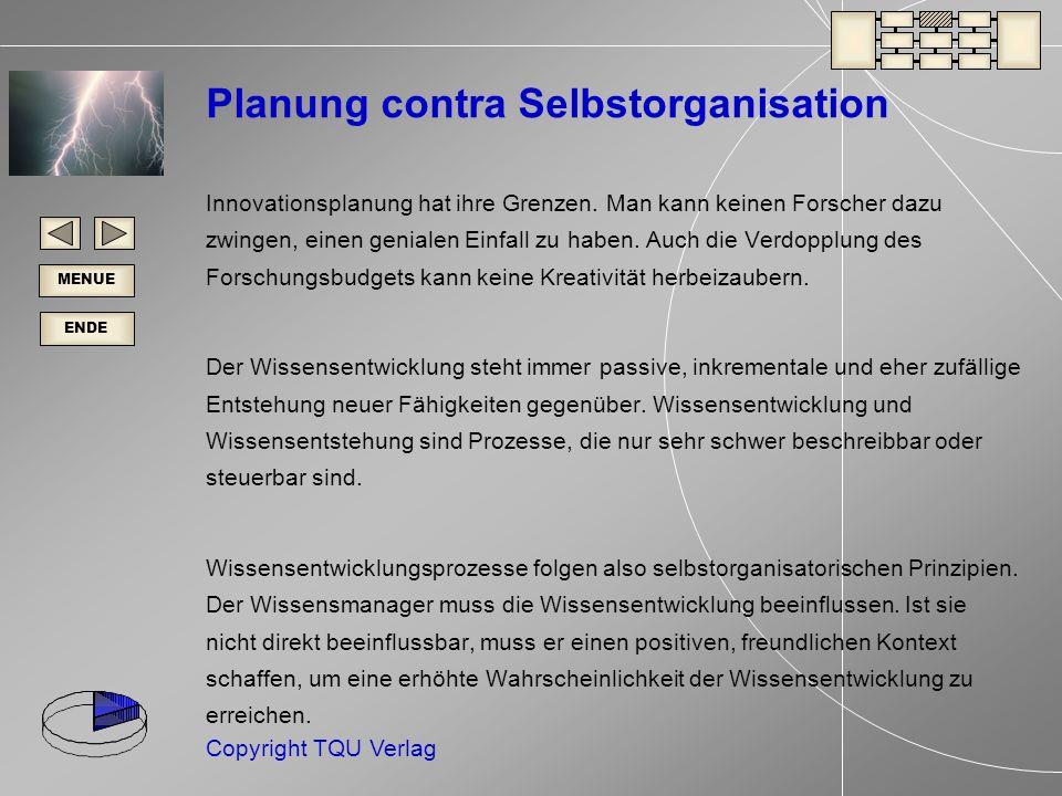 ENDE MENUE Copyright TQU Verlag Planung contra Selbstorganisation Innovationsplanung hat ihre Grenzen.