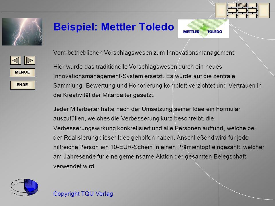 ENDE MENUE Copyright TQU Verlag Beispiel: Mettler Toledo Vom betrieblichen Vorschlagswesen zum Innovationsmanagement: Hier wurde das traditionelle Vorschlagswesen durch ein neues Innovationsmanagement-System ersetzt.