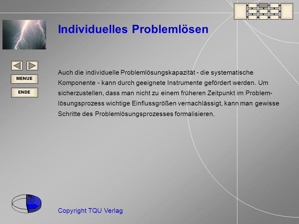 ENDE MENUE Copyright TQU Verlag Individuelles Problemlösen Auch die individuelle Problemlösungskapazität - die systematische Komponente - kann durch geeignete Instrumente gefördert werden.