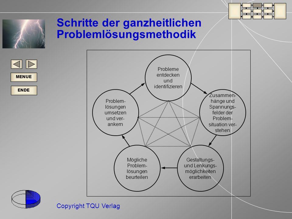 ENDE MENUE Copyright TQU Verlag Problem- lösungen umsetzen und ver- ankern Zusammen- hänge und Spannungs- felder der Problem- situation ver- stehen Probleme entdecken und identifizieren Mögliche Problem- lösungen beurteilen Gestaltungs- und Lenkungs- möglichkeiten erarbeiten Schritte der ganzheitlichen Problemlösungsmethodik