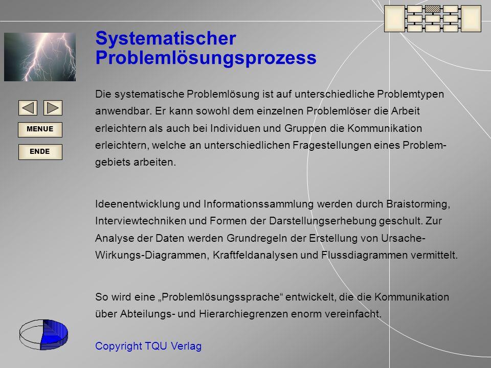 ENDE MENUE Copyright TQU Verlag Systematischer Problemlösungsprozess Die systematische Problemlösung ist auf unterschiedliche Problemtypen anwendbar.