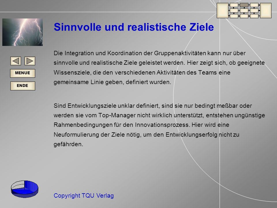 ENDE MENUE Copyright TQU Verlag Sinnvolle und realistische Ziele Die Integration und Koordination der Gruppenaktivitäten kann nur über sinnvolle und realistische Ziele geleistet werden.
