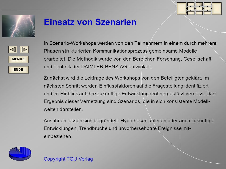 ENDE MENUE Copyright TQU Verlag Einsatz von Szenarien In Szenario-Workshops werden von den Teilnehmern in einem durch mehrere Phasen strukturierten Kommunikationsprozess gemeinsame Modelle erarbeitet.