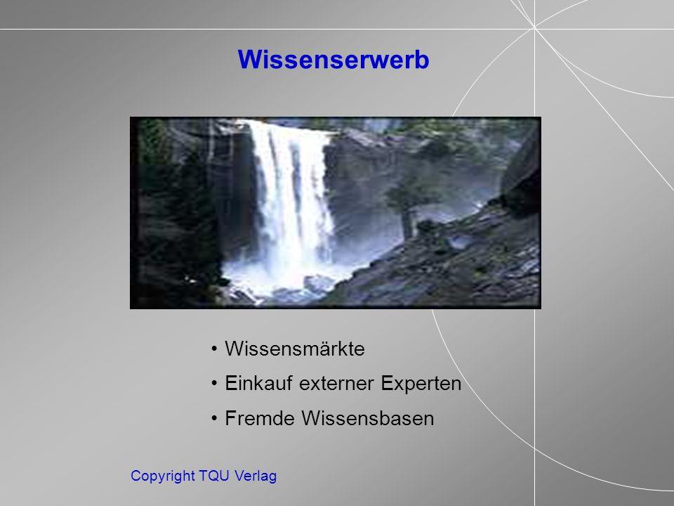 Copyright TQU Verlag Wissenserwerb Wissensmärkte Einkauf externer Experten Fremde Wissensbasen
