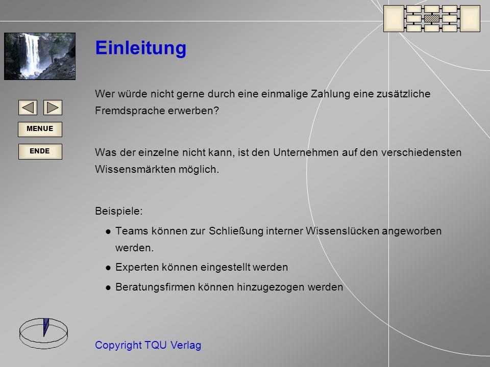ENDE MENUE Copyright TQU Verlag Einleitung Wer würde nicht gerne durch eine einmalige Zahlung eine zusätzliche Fremdsprache erwerben.