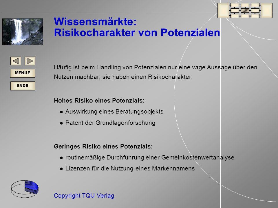 ENDE MENUE Copyright TQU Verlag Wissensmärkte: Risikocharakter von Potenzialen Häufig ist beim Handling von Potenzialen nur eine vage Aussage über den Nutzen machbar, sie haben einen Risikocharakter.