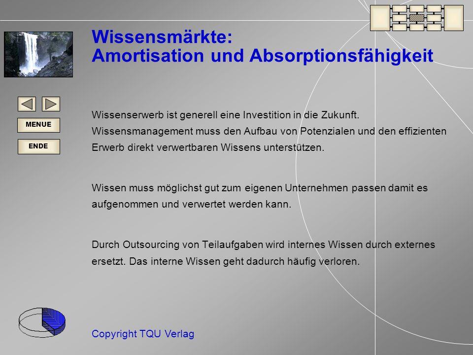 ENDE MENUE Copyright TQU Verlag Wissensmärkte: Amortisation und Absorptionsfähigkeit Wissenserwerb ist generell eine Investition in die Zukunft.