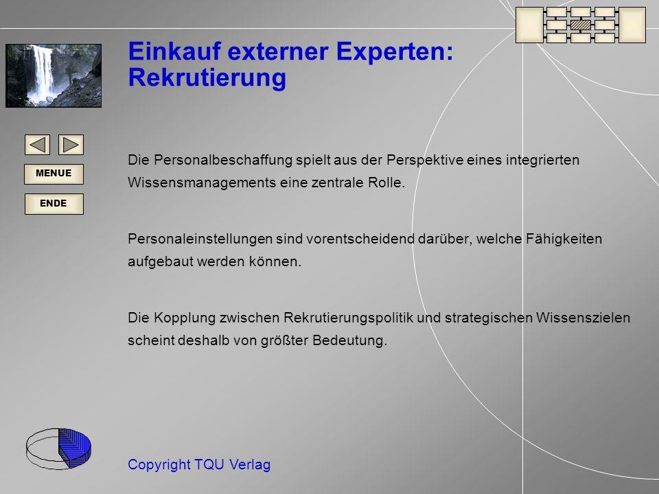 ENDE MENUE Copyright TQU Verlag Einkauf externer Experten: Rekrutierung Die Personalbeschaffung spielt aus der Perspektive eines integrierten Wissensmanagements eine zentrale Rolle.