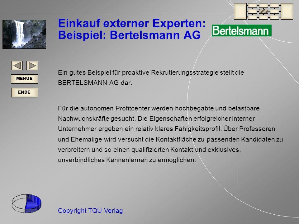 ENDE MENUE Copyright TQU Verlag Einkauf externer Experten: Beispiel: Bertelsmann AG Ein gutes Beispiel für proaktive Rekrutierungsstrategie stellt die BERTELSMANN AG dar.