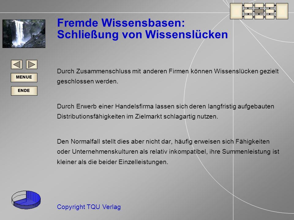 ENDE MENUE Copyright TQU Verlag Fremde Wissensbasen: Schließung von Wissenslücken Durch Zusammenschluss mit anderen Firmen können Wissenslücken gezielt geschlossen werden.