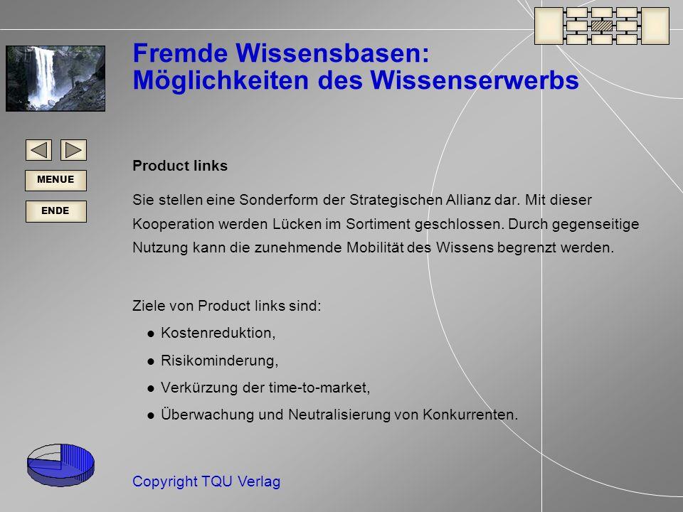 ENDE MENUE Copyright TQU Verlag Fremde Wissensbasen: Möglichkeiten des Wissenserwerbs Product links Sie stellen eine Sonderform der Strategischen Allianz dar.