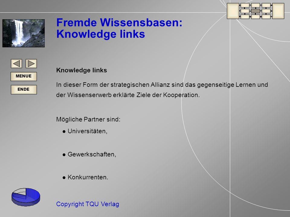 ENDE MENUE Copyright TQU Verlag Fremde Wissensbasen: Knowledge links Knowledge links In dieser Form der strategischen Allianz sind das gegenseitige Lernen und der Wissenserwerb erklärte Ziele der Kooperation.
