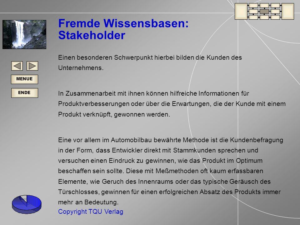 ENDE MENUE Copyright TQU Verlag Fremde Wissensbasen: Stakeholder Einen besonderen Schwerpunkt hierbei bilden die Kunden des Unternehmens.