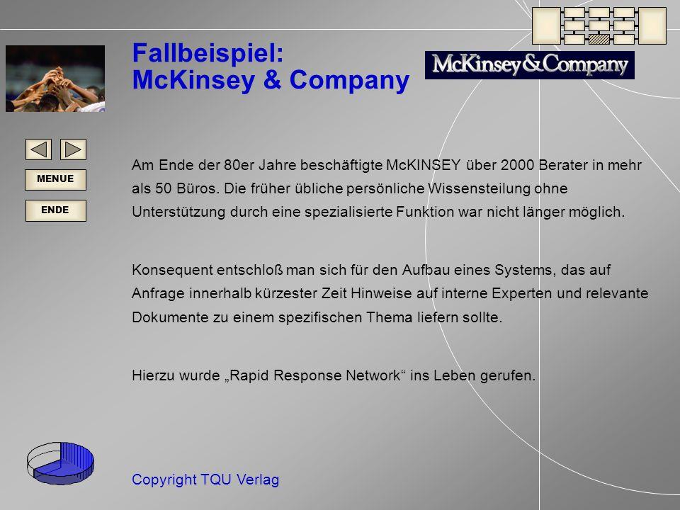 ENDE MENUE Copyright TQU Verlag Fallbeispiel: McKinsey & Company Am Ende der 80er Jahre beschäftigte McKINSEY über 2000 Berater in mehr als 50 Büros.