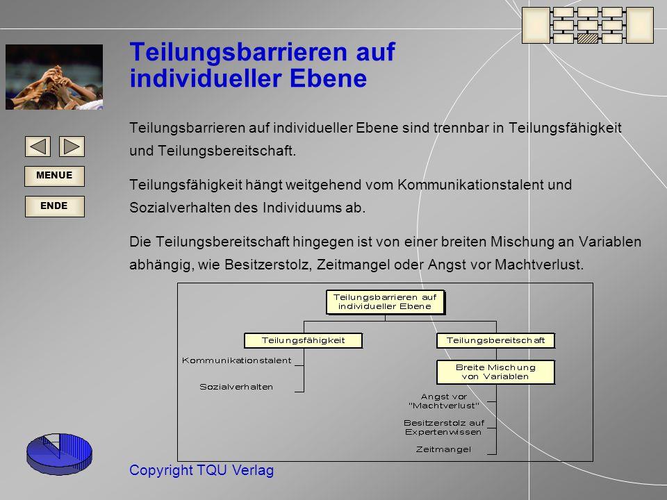 ENDE MENUE Copyright TQU Verlag Teilungsbarrieren auf individueller Ebene Teilungsbarrieren auf individueller Ebene sind trennbar in Teilungsfähigkeit und Teilungsbereitschaft.