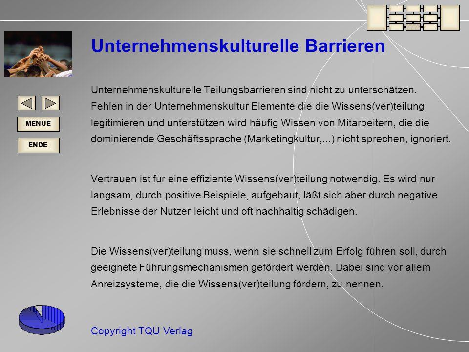 ENDE MENUE Copyright TQU Verlag Unternehmenskulturelle Barrieren Unternehmenskulturelle Teilungsbarrieren sind nicht zu unterschätzen.