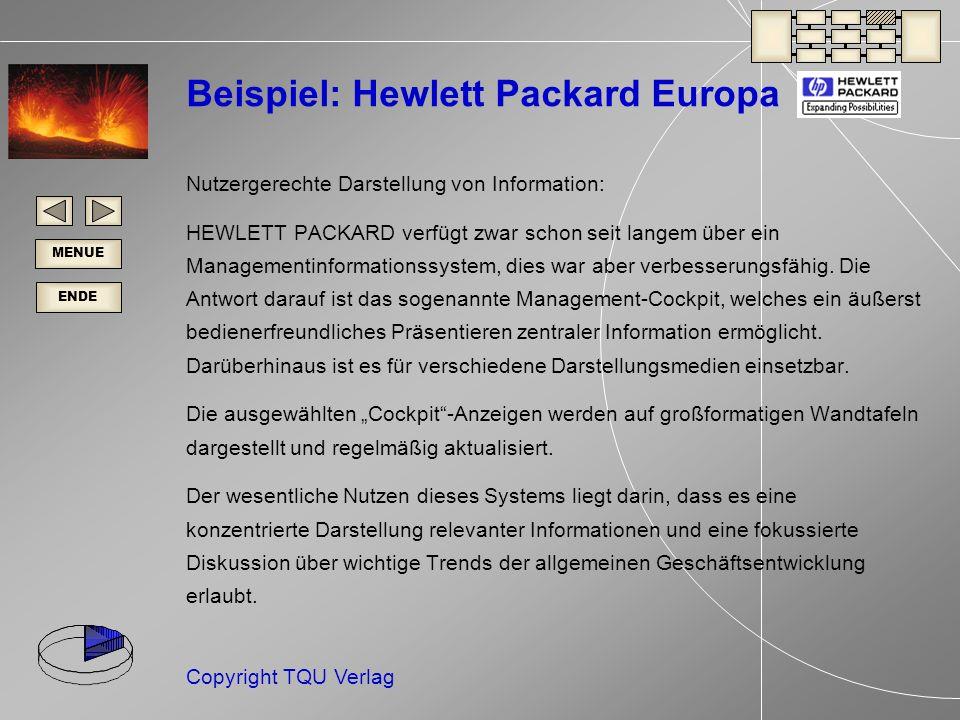 ENDE MENUE Copyright TQU Verlag Beispiel: Hewlett Packard Europa Nutzergerechte Darstellung von Information: HEWLETT PACKARD verfügt zwar schon seit langem über ein Managementinformationssystem, dies war aber verbesserungsfähig.