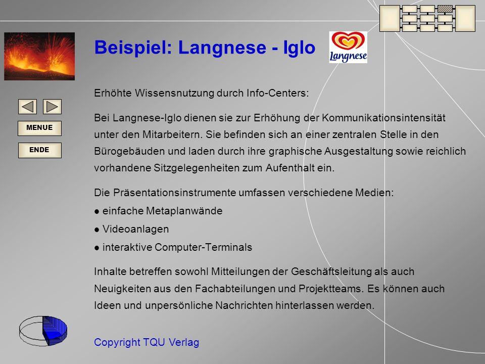 ENDE MENUE Copyright TQU Verlag Beispiel: Langnese - Iglo Erhöhte Wissensnutzung durch Info-Centers: Bei Langnese-Iglo dienen sie zur Erhöhung der Kommunikationsintensität unter den Mitarbeitern.