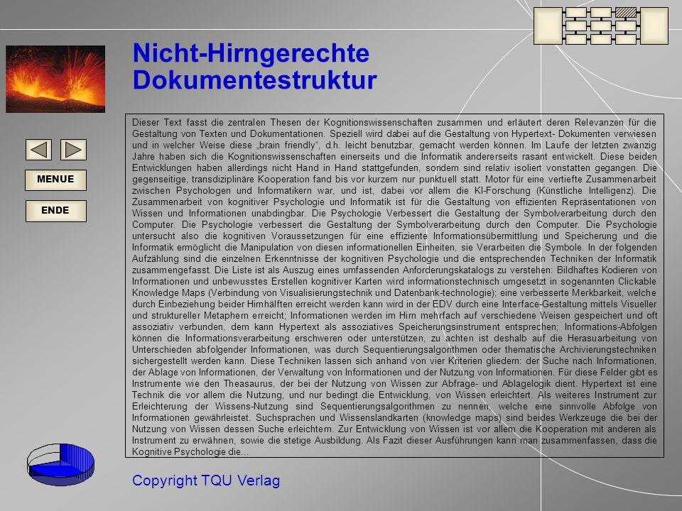 ENDE MENUE Copyright TQU Verlag Nicht-Hirngerechte Dokumentestruktur Dieser Text fasst die zentralen Thesen der Kognitionswissenschaften zusammen und erläutert deren Relevanzen für die Gestaltung von Texten und Dokumentationen.