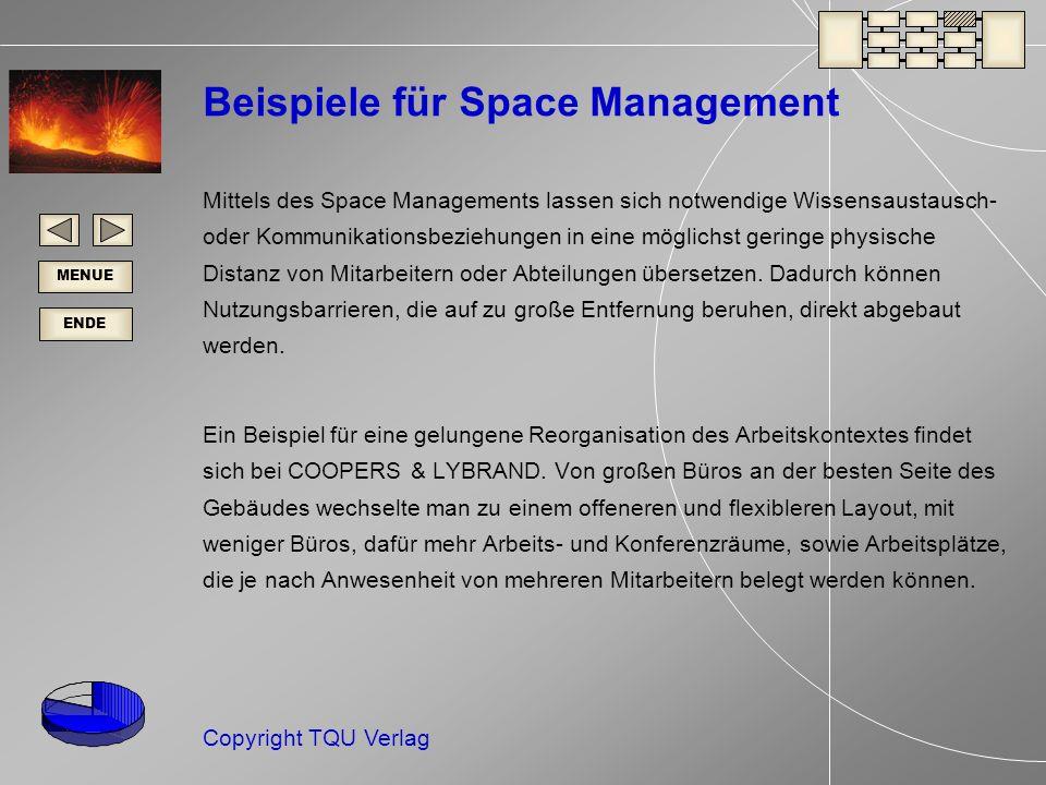 ENDE MENUE Copyright TQU Verlag Beispiele für Space Management Mittels des Space Managements lassen sich notwendige Wissensaustausch- oder Kommunikationsbeziehungen in eine möglichst geringe physische Distanz von Mitarbeitern oder Abteilungen übersetzen.