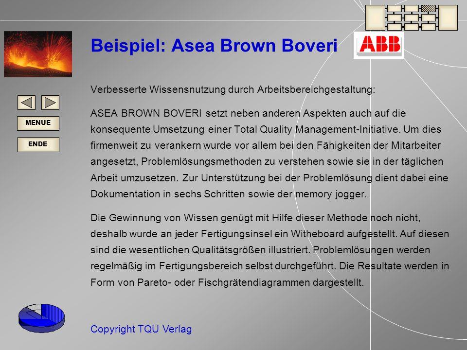 ENDE MENUE Copyright TQU Verlag Beispiel: Asea Brown Boveri Verbesserte Wissensnutzung durch Arbeitsbereichgestaltung: ASEA BROWN BOVERI setzt neben anderen Aspekten auch auf die konsequente Umsetzung einer Total Quality Management-Initiative.