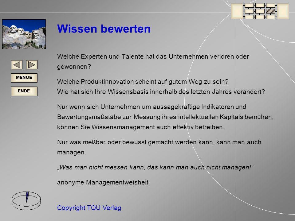 ENDE MENUE Copyright TQU Verlag Wissen bewerten Welche Experten und Talente hat das Unternehmen verloren oder gewonnen.