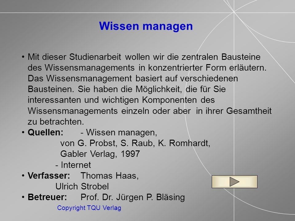ENDE MENUE Copyright TQU Verlag Das organisationale Gedächtnis Das System, in dem das Wissen und die Fähigkeiten des Unternehmens gespeichert sind, wird als organisationales Gedächtnis bezeichnet.