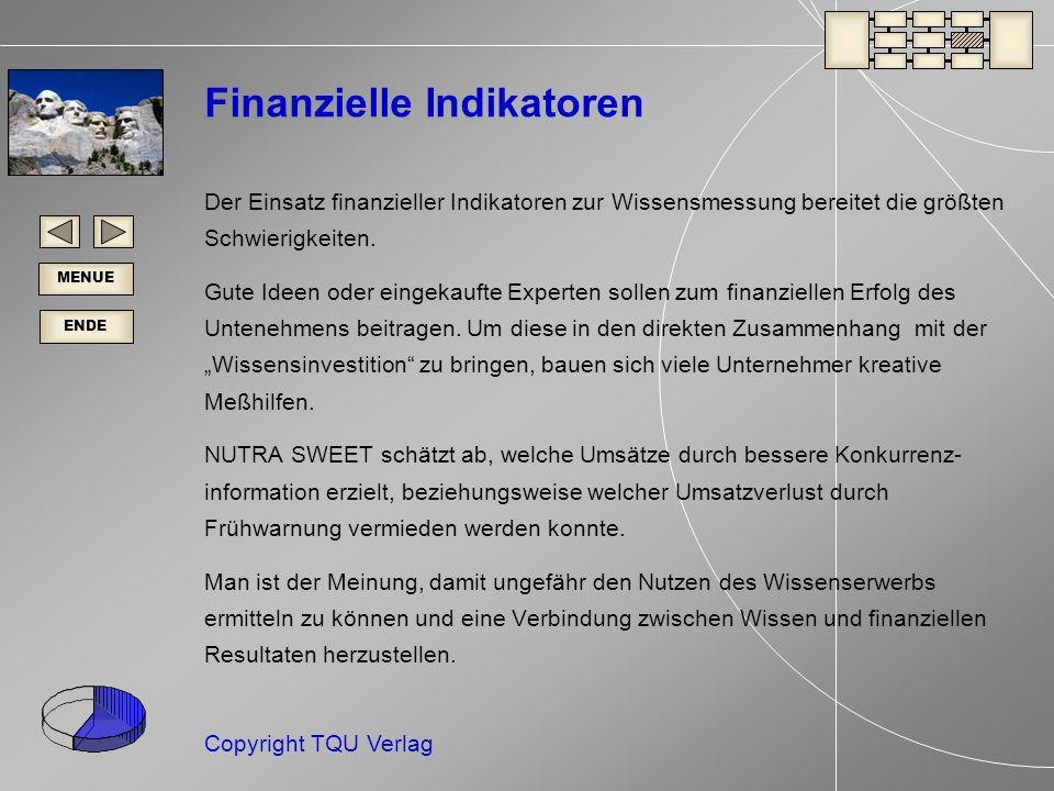 ENDE MENUE Copyright TQU Verlag Finanzielle Indikatoren Der Einsatz finanzieller Indikatoren zur Wissensmessung bereitet die größten Schwierigkeiten.