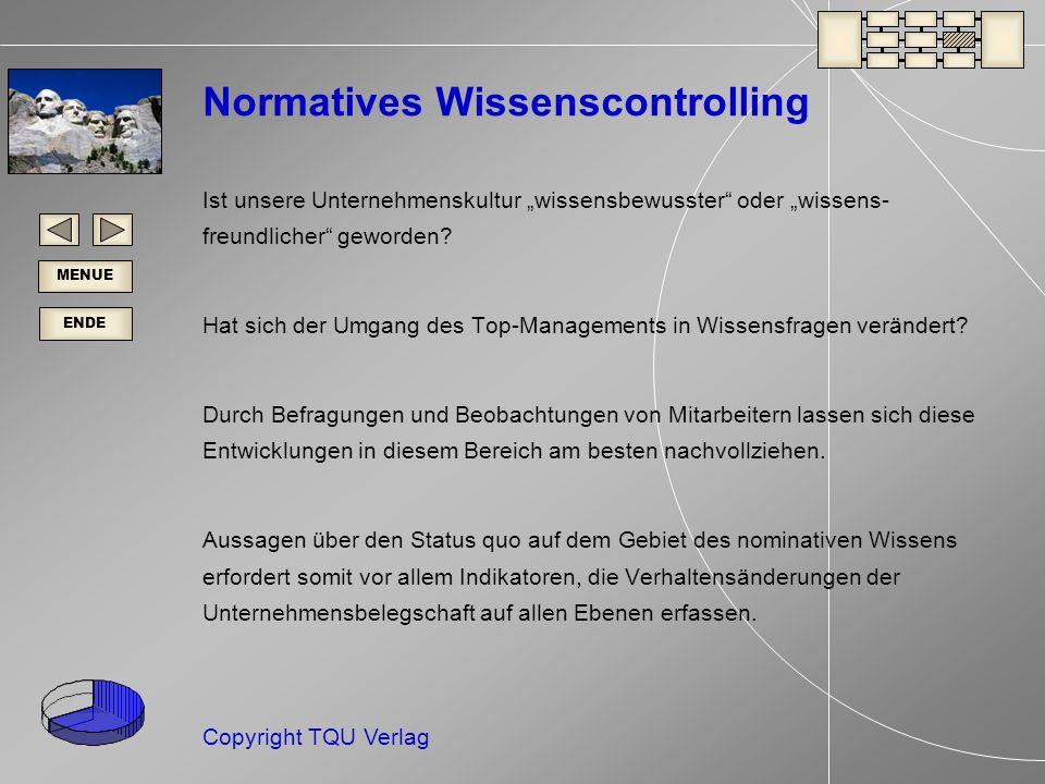 ENDE MENUE Copyright TQU Verlag Normatives Wissenscontrolling Ist unsere Unternehmenskultur wissensbewusster oder wissens- freundlicher geworden.