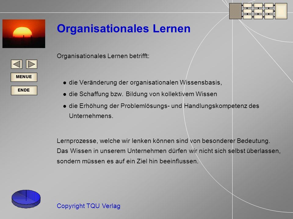 ENDE MENUE Copyright TQU Verlag Organisationales Lernen Organisationales Lernen betrifft: die Veränderung der organisationalen Wissensbasis, die Schaffung bzw.