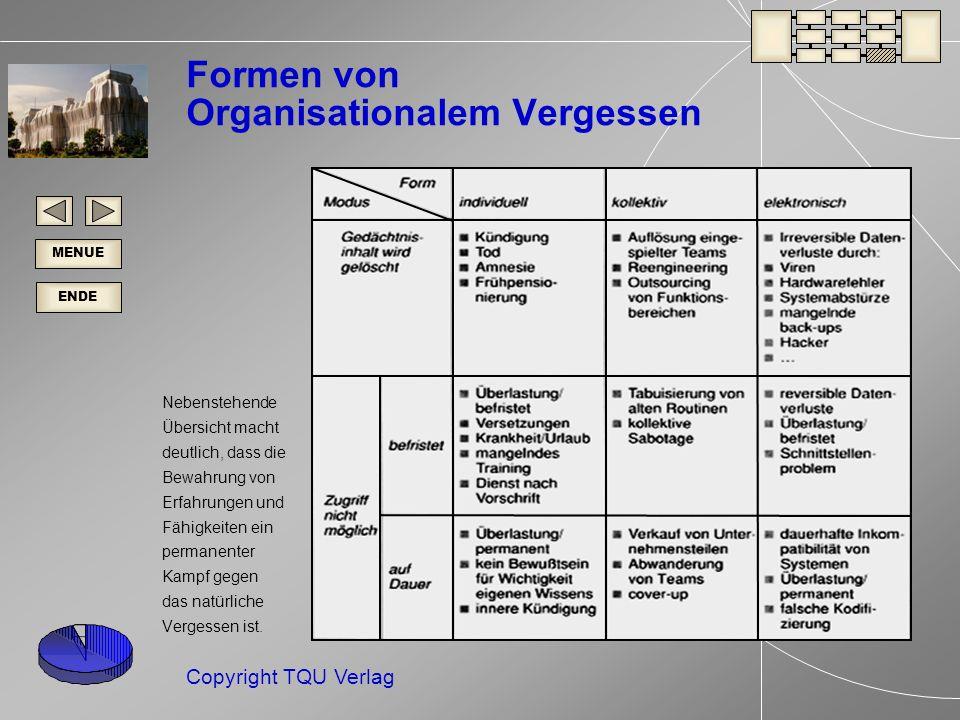 ENDE MENUE Copyright TQU Verlag Formen von Organisationalem Vergessen Nebenstehende Übersicht macht deutlich, dass die Bewahrung von Erfahrungen und Fähigkeiten ein permanenter Kampf gegen das natürliche Vergessen ist.