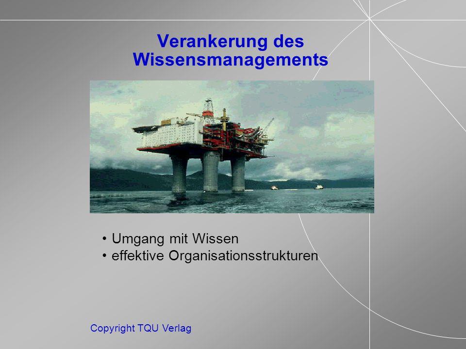 Copyright TQU Verlag Verankerung des Wissensmanagements Umgang mit Wissen effektive Organisationsstrukturen