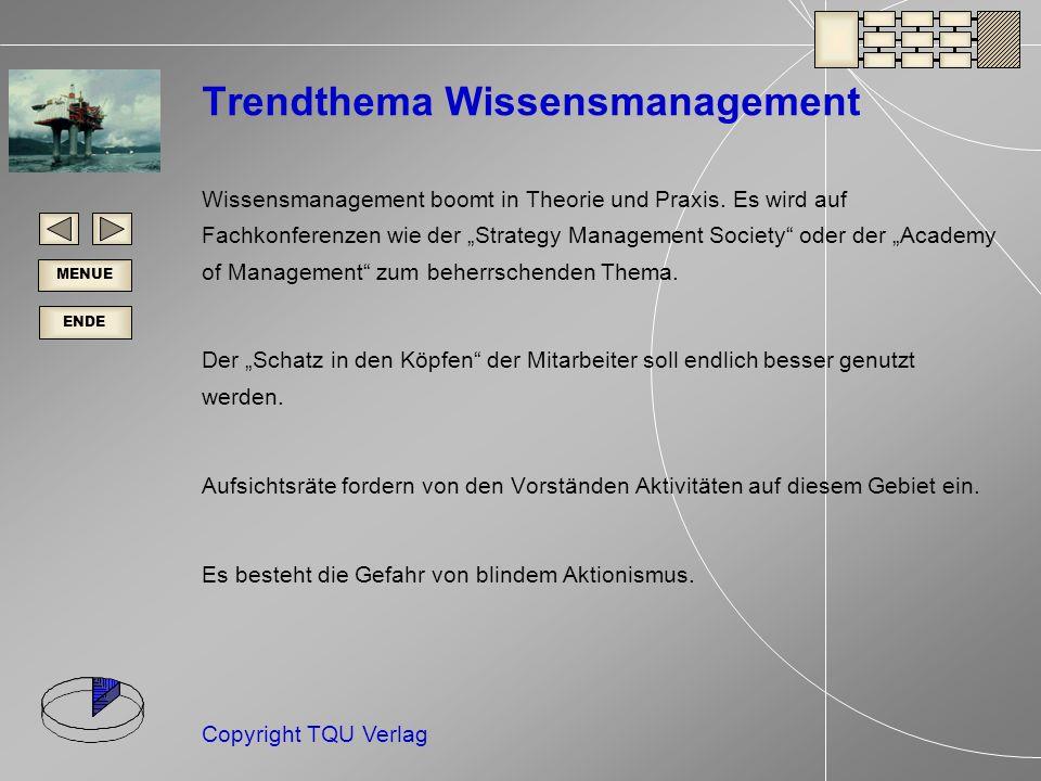 ENDE MENUE Copyright TQU Verlag Trendthema Wissensmanagement Wissensmanagement boomt in Theorie und Praxis.