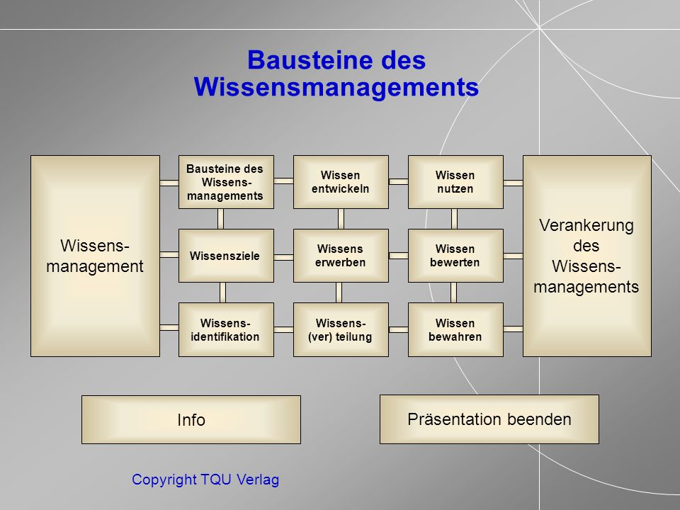 ENDE MENUE Copyright TQU Verlag Nutzung von Personalentwicklungsmaßnahmen Bei den Instrumenten der Wissensmultiplikation steht vor allem die gesamte Palette der Personalentwicklungsmaßnahmen im Vordergrund.