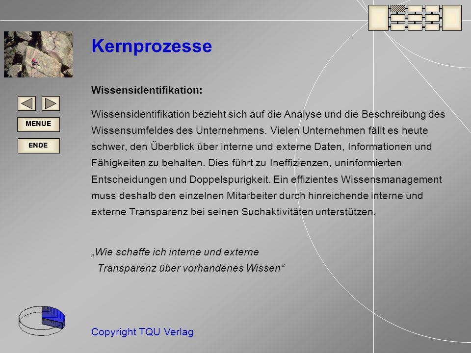 ENDE MENUE Copyright TQU Verlag Kernprozesse Wissensidentifikation: Wissensidentifikation bezieht sich auf die Analyse und die Beschreibung des Wissensumfeldes des Unternehmens.