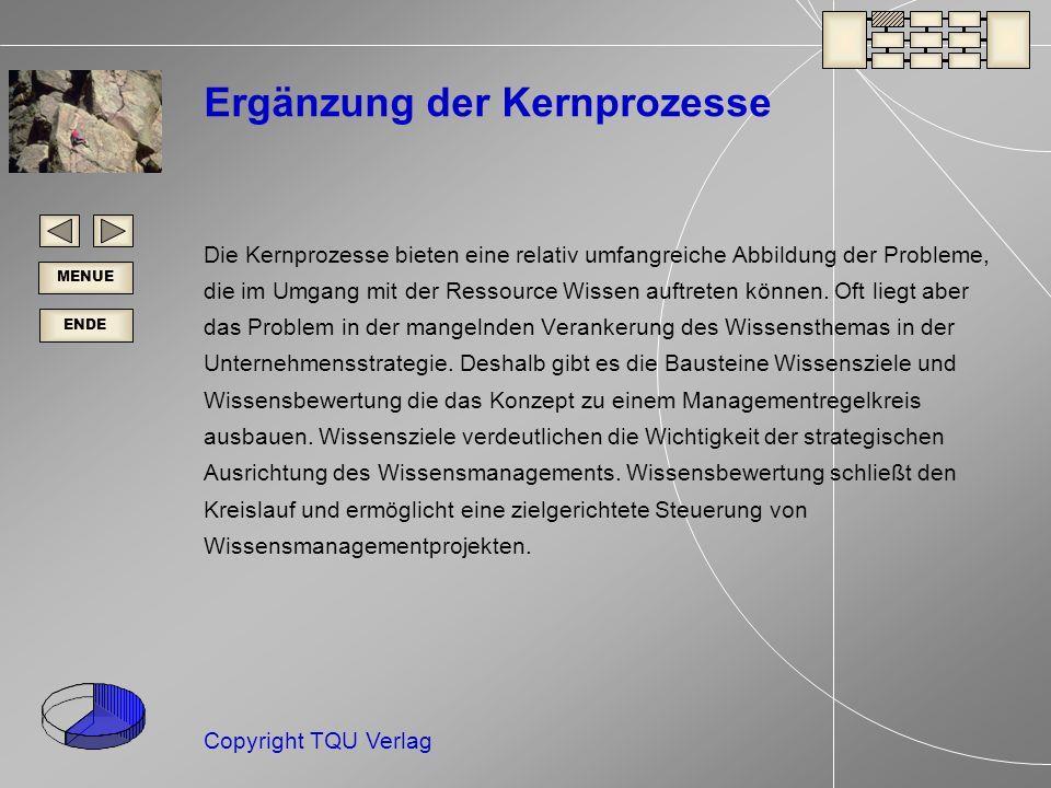 ENDE MENUE Copyright TQU Verlag Ergänzung der Kernprozesse Die Kernprozesse bieten eine relativ umfangreiche Abbildung der Probleme, die im Umgang mit der Ressource Wissen auftreten können.