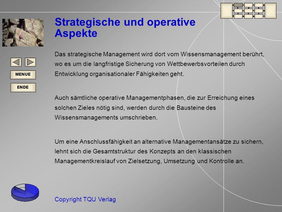 ENDE MENUE Copyright TQU Verlag Strategische und operative Aspekte Das strategische Management wird dort vom Wissensmanagement berührt, wo es um die langfristige Sicherung von Wettbewerbsvorteilen durch Entwicklung organisationaler Fähigkeiten geht.