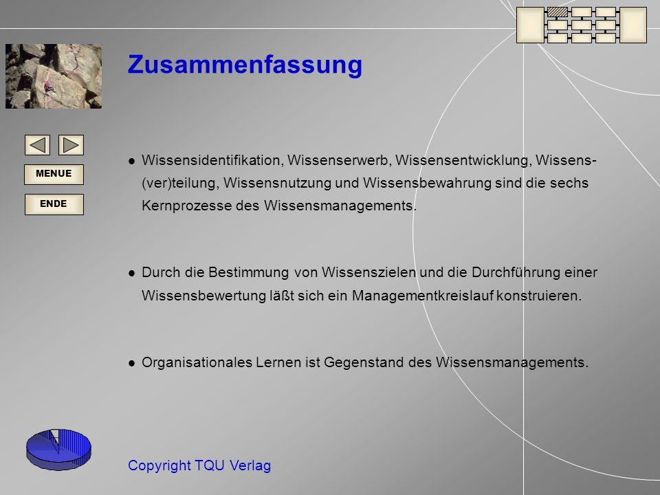 ENDE MENUE Copyright TQU Verlag Zusammenfassung Wissensidentifikation, Wissenserwerb, Wissensentwicklung, Wissens- (ver)teilung, Wissensnutzung und Wissensbewahrung sind die sechs Kernprozesse des Wissensmanagements.