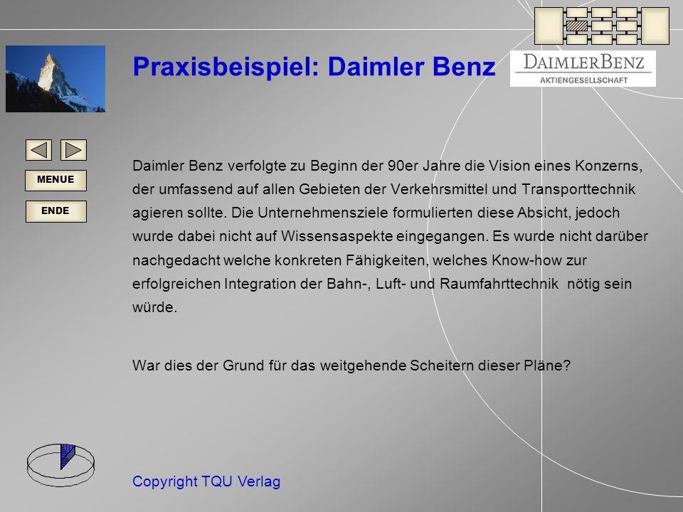 ENDE MENUE Copyright TQU Verlag Praxisbeispiel: Daimler Benz Daimler Benz verfolgte zu Beginn der 90er Jahre die Vision eines Konzerns, der umfassend auf allen Gebieten der Verkehrsmittel und Transporttechnik agieren sollte.