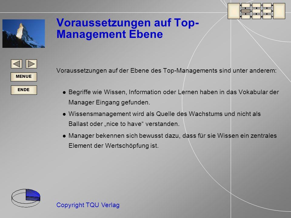 ENDE MENUE Copyright TQU Verlag Voraussetzungen auf Top- Management Ebene Voraussetzungen auf der Ebene des Top-Managements sind unter anderem: Begriffe wie Wissen, Information oder Lernen haben in das Vokabular der Manager Eingang gefunden.