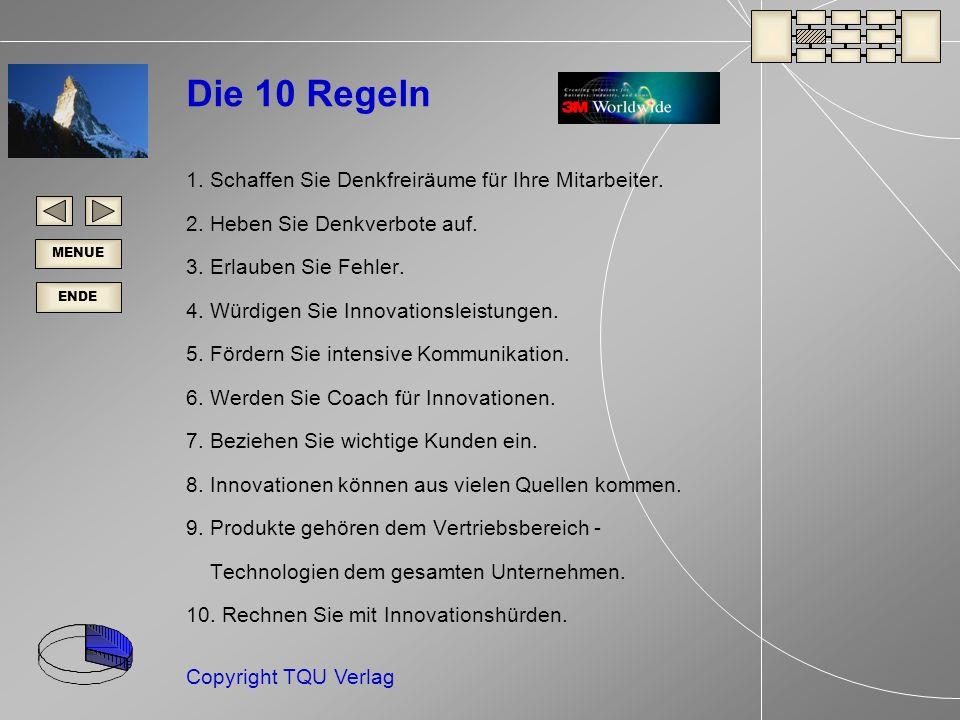 ENDE MENUE Copyright TQU Verlag Die 10 Regeln 1.Schaffen Sie Denkfreiräume für Ihre Mitarbeiter.